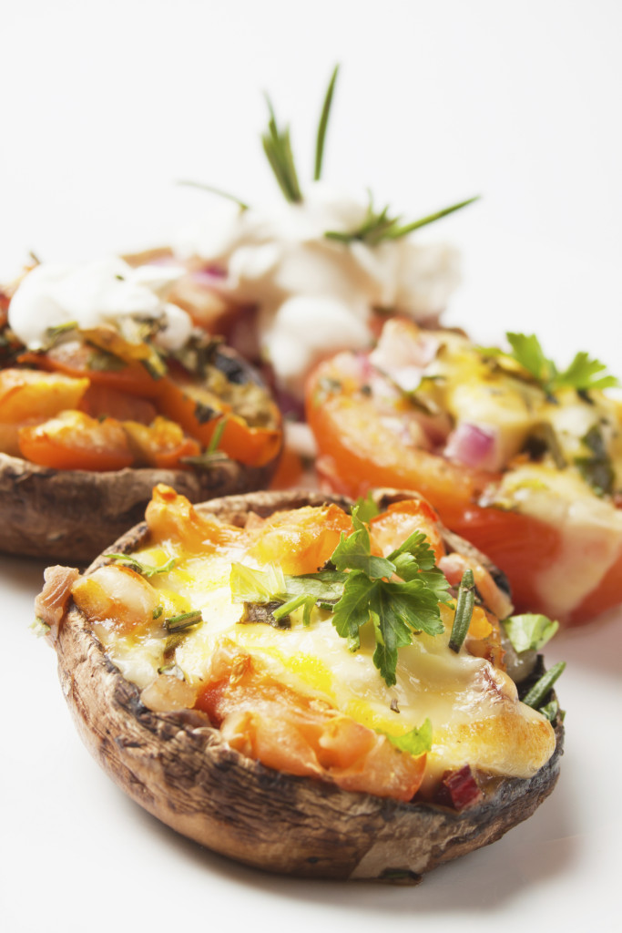 Stuffed mushroom and tomato